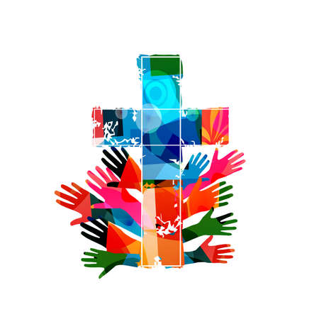 Colorful christian cross with human hands isolated vector illustration. Religion themed background. Design for Christianity, church charity, help and support, prayer and care Ilustrace