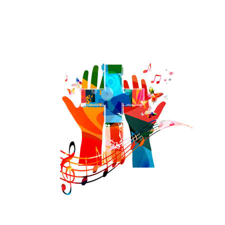 Colorful christian cross with hands and music notes isolated vector illustration. Religion themed background. Design for gospel church music, choir singing, concert, festival, Christianity, prayer
