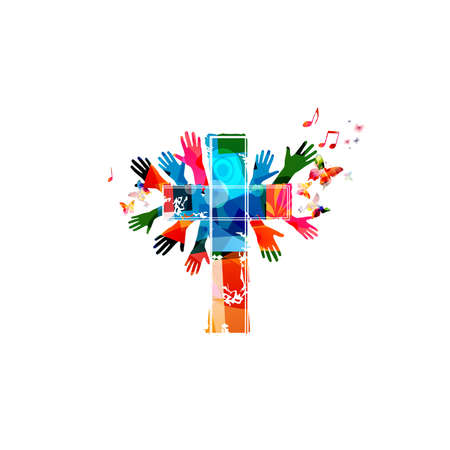 Colorful christian cross with hands and music notes isolated vector illustration. Religion themed background. Design for gospel church music, choir singing, concert, festival, Christianity, prayer Ilustrace