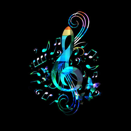 Music promotional poster with G-clef and musical notes vector illustration. Artistic abstract background with musical notes for live concert events, music festivals and shows, party flyer template