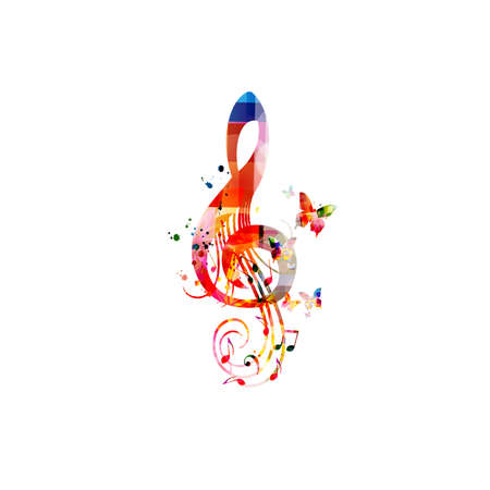 Colorful music promotional poster with G-clef isolated vector illustration. Artistic abstract background with treble clef for live concert events, music festivals and shows, party flyer template