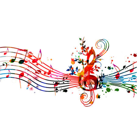 Colorful music promotional poster with music notes isolated vector illustration. Artistic abstract background with music staff for live concert events, music festivals and shows, party flyer template