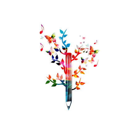 Colorful pencil with leaves for creative writing, idea and inspiration, education and learning concept. Blogging, composing and copywriting