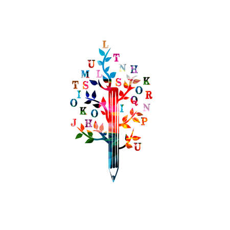 Colorful pencil with letters for creative writing, idea and inspiration, education and learning concept. Blogging and copywriting Illustration