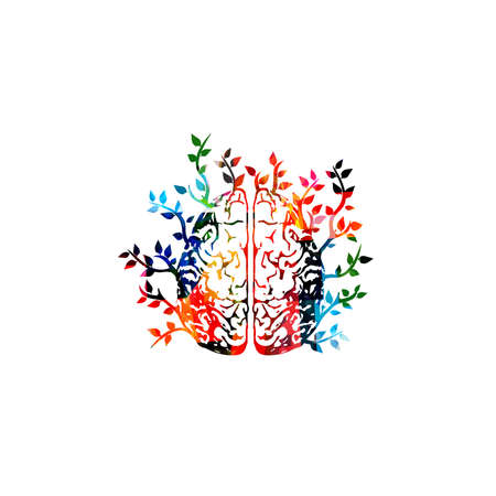 Colorful human brain with leaves vector illustration background. Creative thinking, brainstorming and smart ideas, innovative solutions, education and learning. Mental health concept Illustration