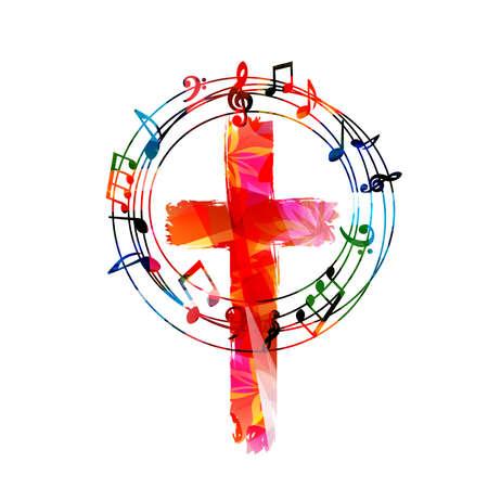 Colorful christian cross with music notes isolated vector illustration. Religion themed background. Design for gospel church music, choir singing, concert, festival, Christianity, prayer Vektoros illusztráció