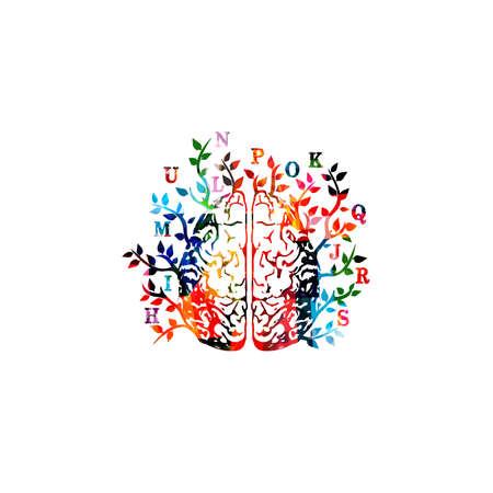 Colorful human brain with alphabet letters vector illustration background. Brainstorming, creative thinking, education, learning and teaching. Career and development, courses and trainings concept