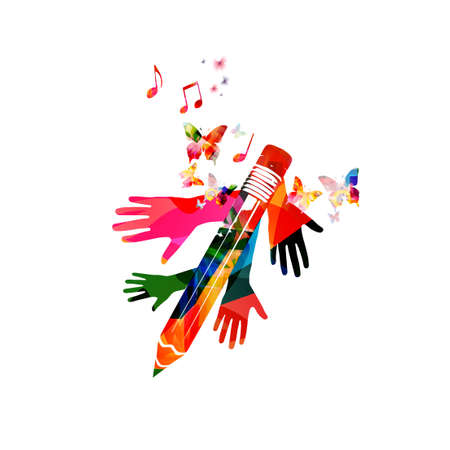 Colorful pencil with musical notes and hands isolated. Creative writing, composing music, education concept vector illustration