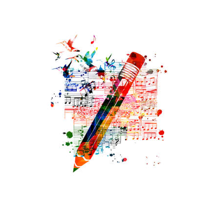 Colorful pencil with musical notes isolated. Creative writing, composing music, education concept vector illustration