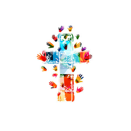 Colorful christian cross with human hands isolated vector illustration. Religion themed background. Design for Christianity, church charity, help and support, prayer and care Çizim