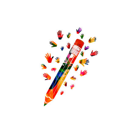 Colorful pencil with hands for creative writing, classes, education and learning concept. Children at school, studying concept