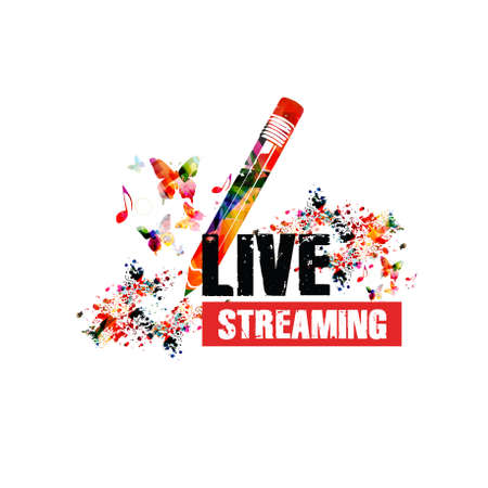 Live streaming banner, broadcasting musical classes and lessons vector illustration design. Colorful pencil with musical notes for online education Stock Illustratie