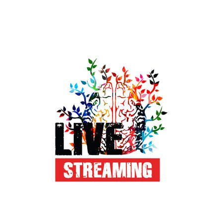 Live streaming banner, broadcasting classes and lessons, trainings and conferences vector illustration design. Colorful human brain for online education and studying
