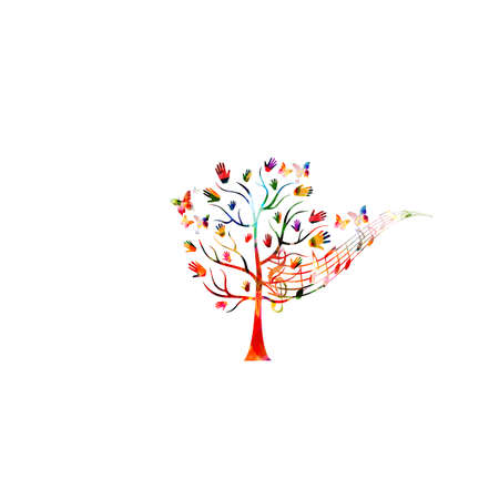 Charity and volunteerism, care and love, social awareness, donations and helping concepts vector illustration design. Colorful isolated tree with hands and musical notes Stock Illustratie