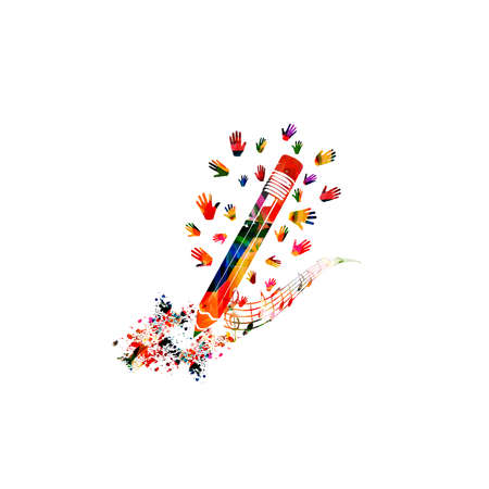 Colorful pencil with musical notes and hands isolated. Creative writing, composing music, education concept vector illustration design Stock Illustratie