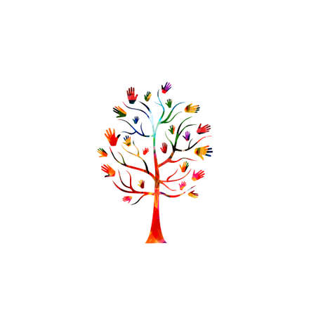 Charity and volunteerism, care and love, social awareness, donations and helping concepts vector illustration design. Colorful isolated tree with hands Çizim