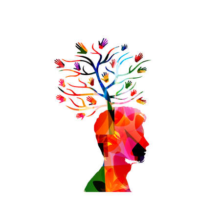 Charity and volunteerism, care and love, social awareness, donations and helping concepts vector illustration design. Colorful isolated human head with tree and hands Stock Illustratie