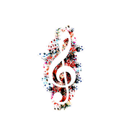 Colorful G-clef isolated vector illustration. Artistic treble clef design for live concert events, music shows and festivals. Violin key symbol