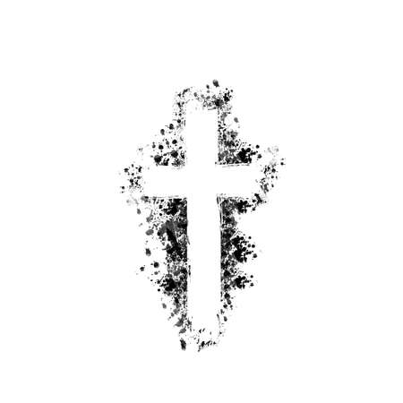 Christian cross isolated vector illustration. Religion themed background. Design for Christianity, prayer and care, church charity, help and support Stock Illustratie