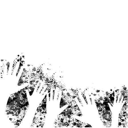 Many human hands raised isolated vector illustration. Charity and help, volunteerism, social care and community support concept