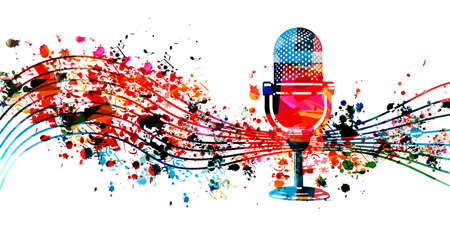 Audio podcast concept, podcast recording, online show, live streaming, broadcasting colorful vector illustration design