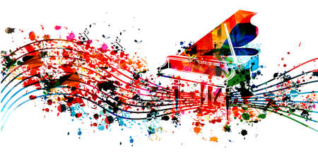 Music promotional poster with multicolored piano and musical notes isolated vector illustration. Colorful musical background with piano for live concert events, music festivals and shows, party flyer Stock Illustratie