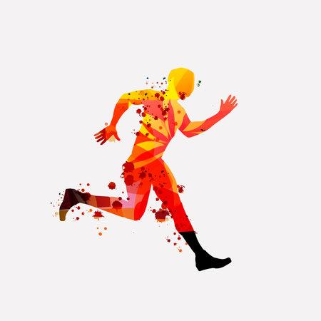 Running people, marathon race poster