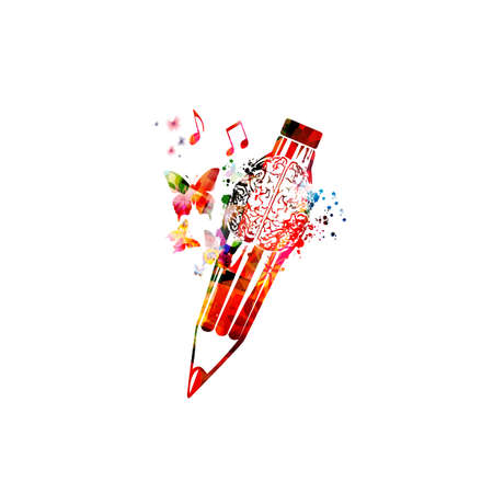 Colorful pencil with brain symbol for creative writing, idea, inspiration, education and learning concept.