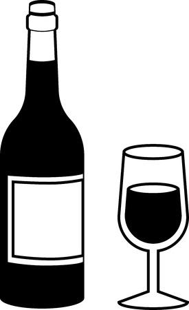 Zwart-wit wijn fles met vol glas Vector Stock Illustratie