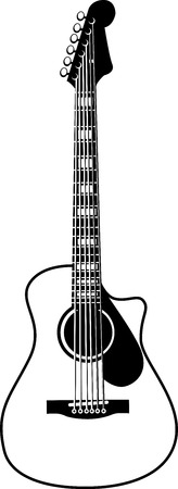 Black and White Acoustic Guitar Vector