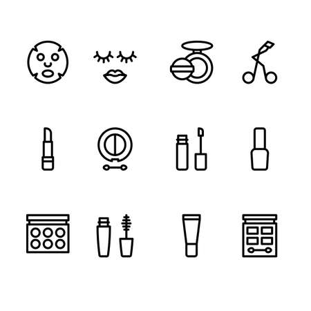 Beauty Cosmetic Minimalistic Flat Line Outline Stroke Icon Pictogram Symbol Set Collection  イラスト・ベクター素材