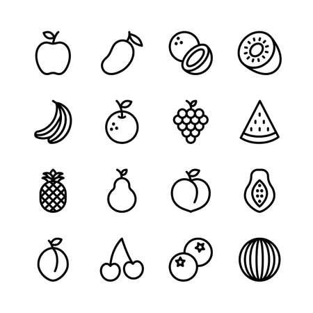 Fruit line icons set, outline style. Vector illustration
