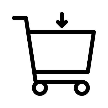 Download shopping cart icon. flat illustration of download shopping cart vector icon. download shopping cart sign symbol 矢量图像