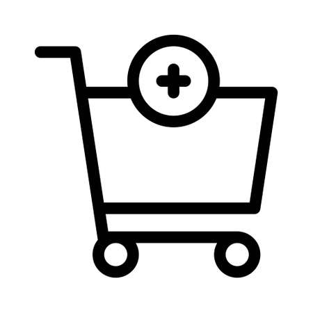 Shopping cart with cross plus sign. Add or more simple purchase icon isolated on white background. Stores the cart on wheels. 矢量图像