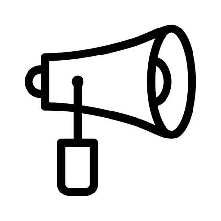 Megaphone icon, linear style pictogram isolated on white background. Content Marketing Vector Icon Çizim