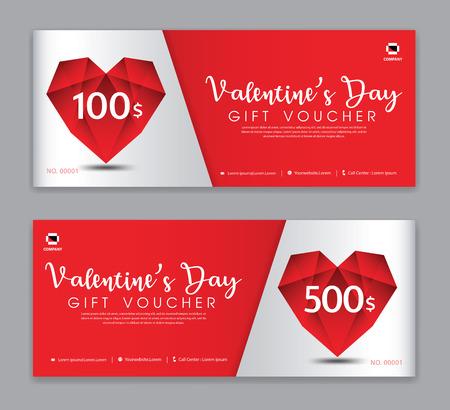 Valentijnsdag cadeaubon sjabloon, coupon, korting, verkoopbanner, horizontale lay-out, kortingskaarten, headers, website, rode achtergrond.