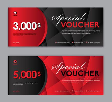 Cadeaubon sjabloon, speciale waardebon, verkoopbanner, horizontale lay-out, kortingskaarten, headers, website, rode achtergrond.