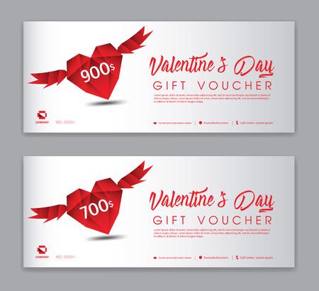Plantilla de vale de regalo de San Valentín, cupón, descuento, banner de venta, diseño horizontal, tarjetas de descuento, encabezados, sitio web, fondo rojo.
