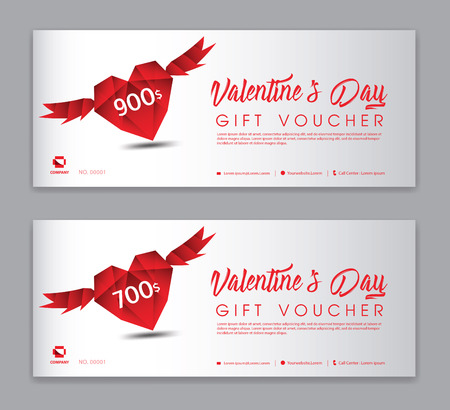 Valentine's Day Gift Voucher template, Coupon, discount, Sale banner, Horizontal  layout, discount cards, headers, website, red background.