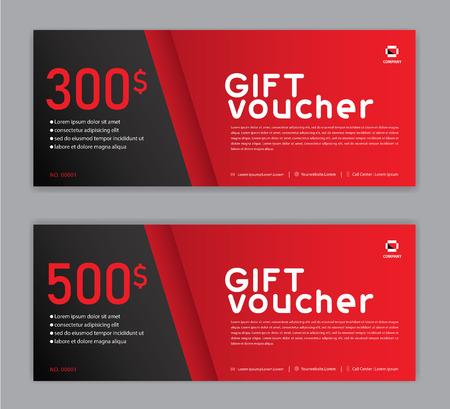 Modello di buono regalo, banner di vendita, layout orizzontale, carte sconto, intestazioni, sito Web, sfondo rosso. Vettoriali