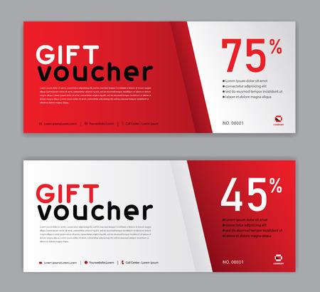 Modello di buono regalo, banner di vendita, layout orizzontale, carte sconto, intestazioni, sito Web, sfondo rosso.