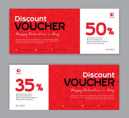Plantilla de vale de regalo, día de San Valentín, banner de venta de descuento, diseño horizontal, tarjetas de descuento, encabezados, sitio web, fondo rojo.