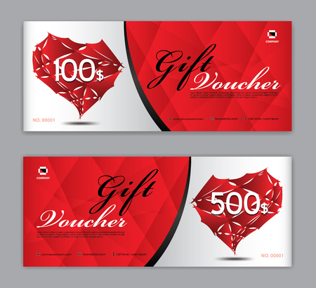 Gift Voucher template, Coupon, discount, for Happy Valentines Day, Sale banner, Horizontal  layout, discount cards, headers, website, red background. Illustration
