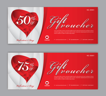 Bon upominkowy szablon, kupon, rabat, na Happy Valentine's Day, sprzedaż baner, układ poziomy, karty rabatowe, nagłówki, strona internetowa, czerwone tło.