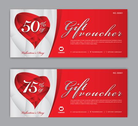Plantilla de vale de regalo, cupón, descuento, para el día de San Valentín feliz, banner de venta, diseño horizontal, tarjetas de descuento, encabezados, sitio web, fondo rojo.