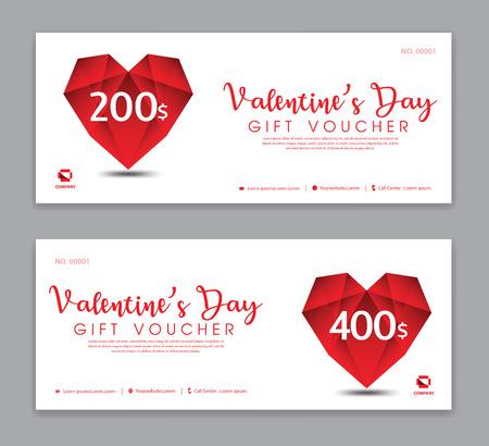 Modello di buono regalo di San Valentino, coupon, sconto, banner di vendita, layout orizzontale, carte sconto, intestazioni, sito Web, sfondo rosso.