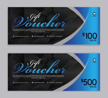 Plantilla de vale de regalo, banner de venta, diseño horizontal, tarjetas de descuento, encabezados, sitio web, fondo azul.