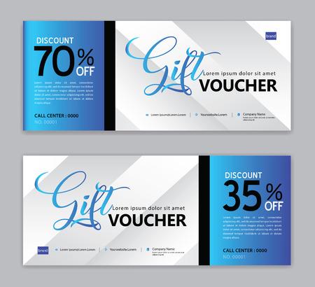 Modello di buono regalo, banner di vendita, layout orizzontale, carte sconto, intestazioni, sito Web, sfondo blu. Vettoriali