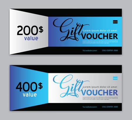 Modello di buono regalo, banner di vendita, layout orizzontale, carte sconto, intestazioni, sito Web, sfondo blu.