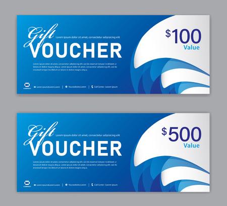 Plantilla de vale de regalo azul, banner de venta, diseño horizontal, tarjetas de descuento, encabezados, sitio web, fondo azul.